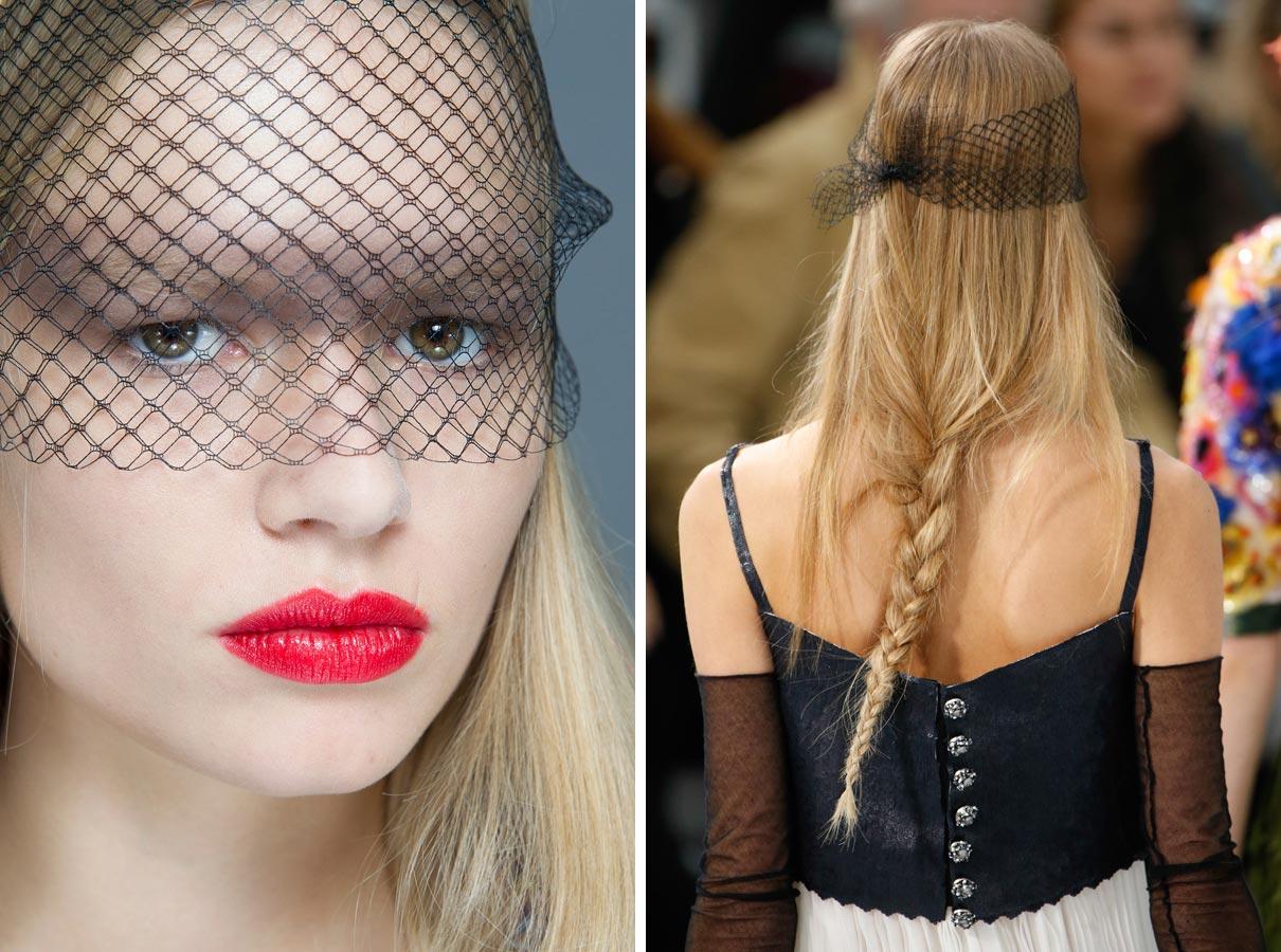 Tyl na závoj mějte doma v pohotovosti. Ze zplihlých vlasů rychle vykouzlí party účes ve stylu Chanel.