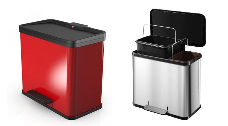 Odpadkový koš na tříděný odpad Hailo Öko duo v nádherné červené barvě. Koš má dvě odolné plastové nádoby o 19 a 11 litrech. Koš je uzpůsoben vkládání pytlů na odpadky bez toho, aby z odpadkového koše vyčnívaly.