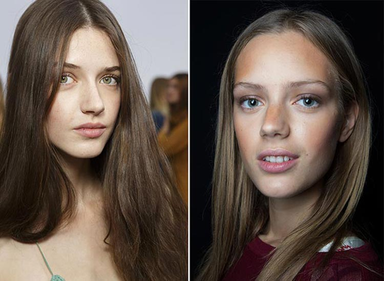 Trendy účesy jaro/léto 2015: Přírodně rovné vlasy.