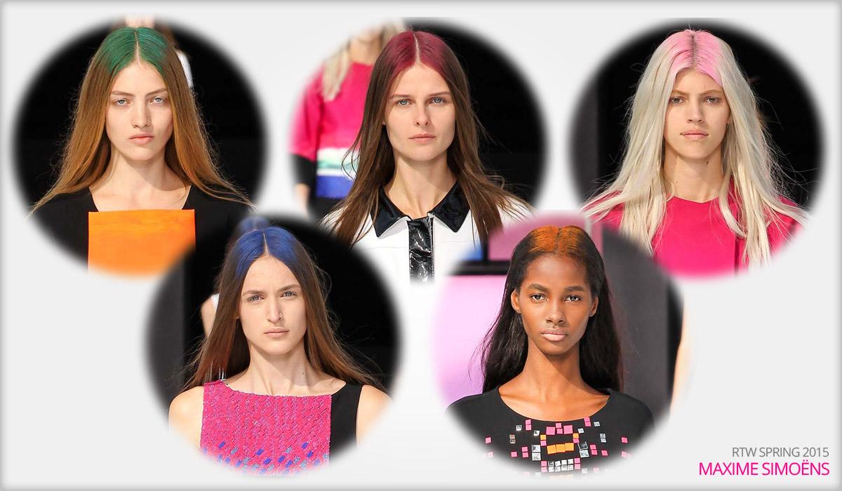 Módní kolekce RTW Maxime Simoëns S/S 2015 a hair chalk jako color block.
