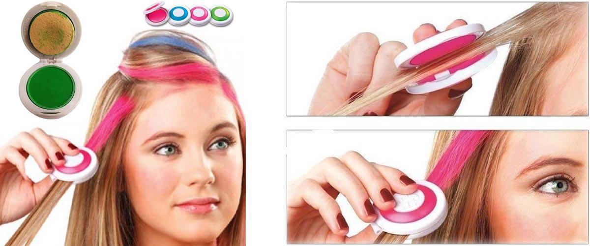 Jiný typ kříd na vlasy. Umožňuje čistější aplikaci, ale bohužel poskytuje mnohem omezenější výběr barev a odstínů.