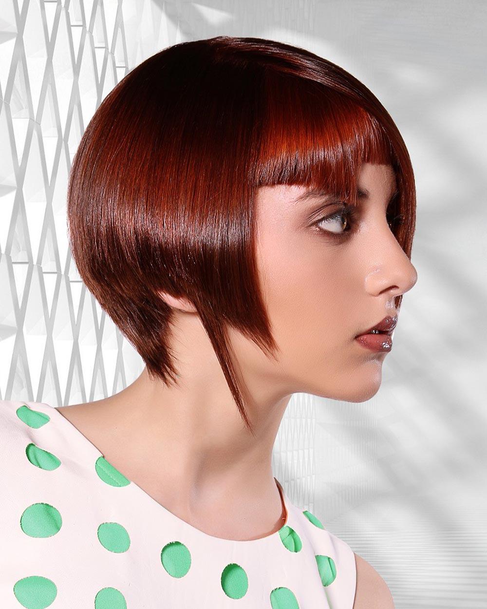 Najděte jarní harmonii v asymetrickém účesu. Účes je z kolekce Perfectly Mod od Hair Bender Internationalé.