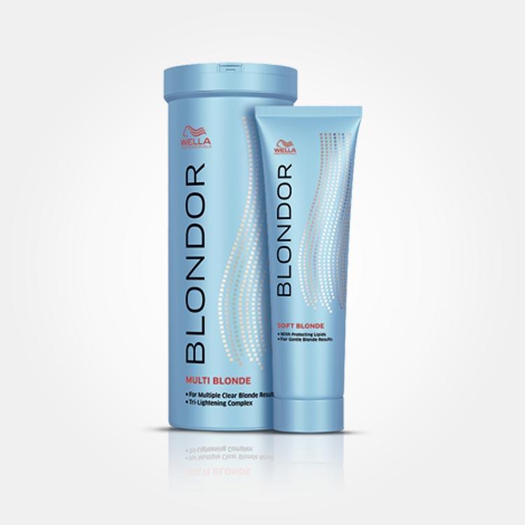 Kosmetika Wella Blondor. Řada vlasové kosmetiky Blondor obsahuje práškový zesvětlovač, zesvětlovací krém nebo například kondicionér pro zesvětlené vlasy.