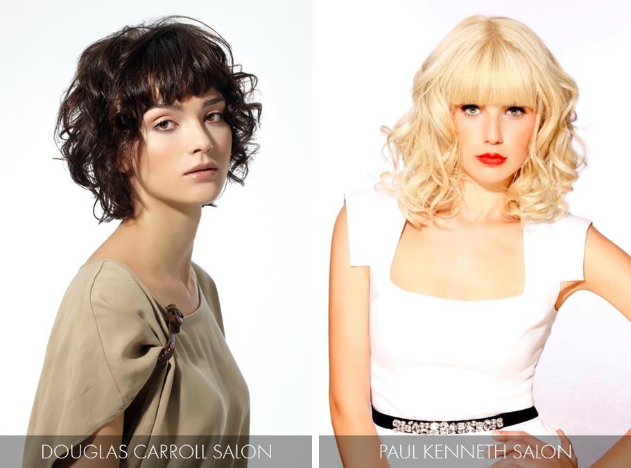 Účesy pro polodlouhé vlasy jaro/léto 2015 – dejte do kontrastu rovné vlasy na povrchu hlavy a na ofině s rozvlněnými délkami.