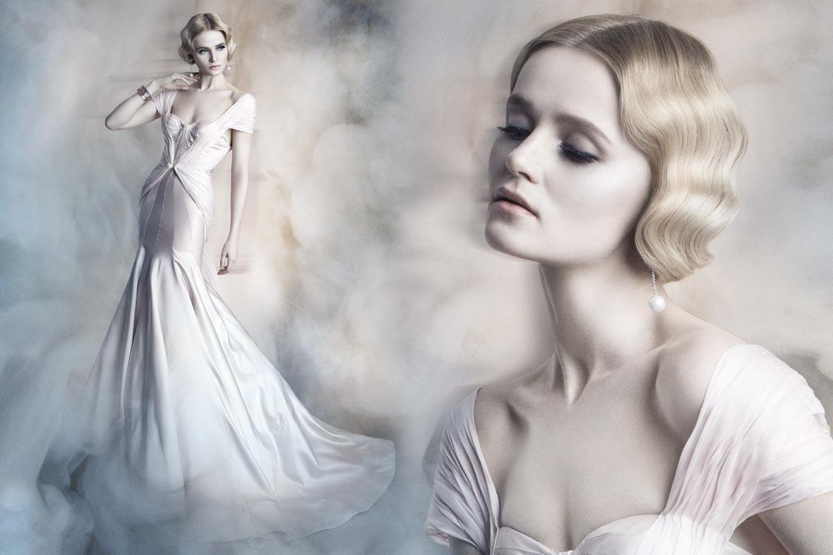 Tipy na svatební účesy 2015 – místo tiáry čelenka z perel a vintage vlny. Tak vypadá svatební účes podle Vivienne Mackinder.