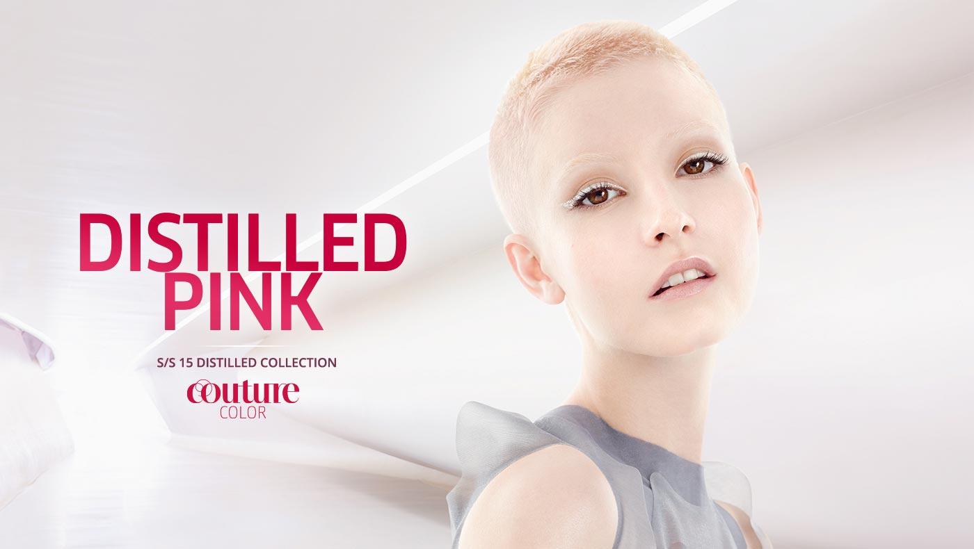 Wella účesy S/S 2015: odvážně extra krátké vlasy Distilled pink.