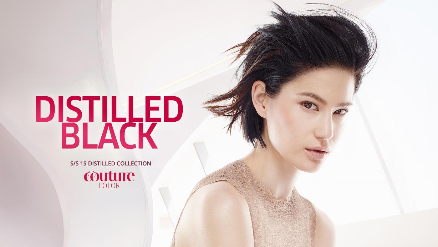 Wella účesy S/S 2015: černé prosvětlené Distilled black