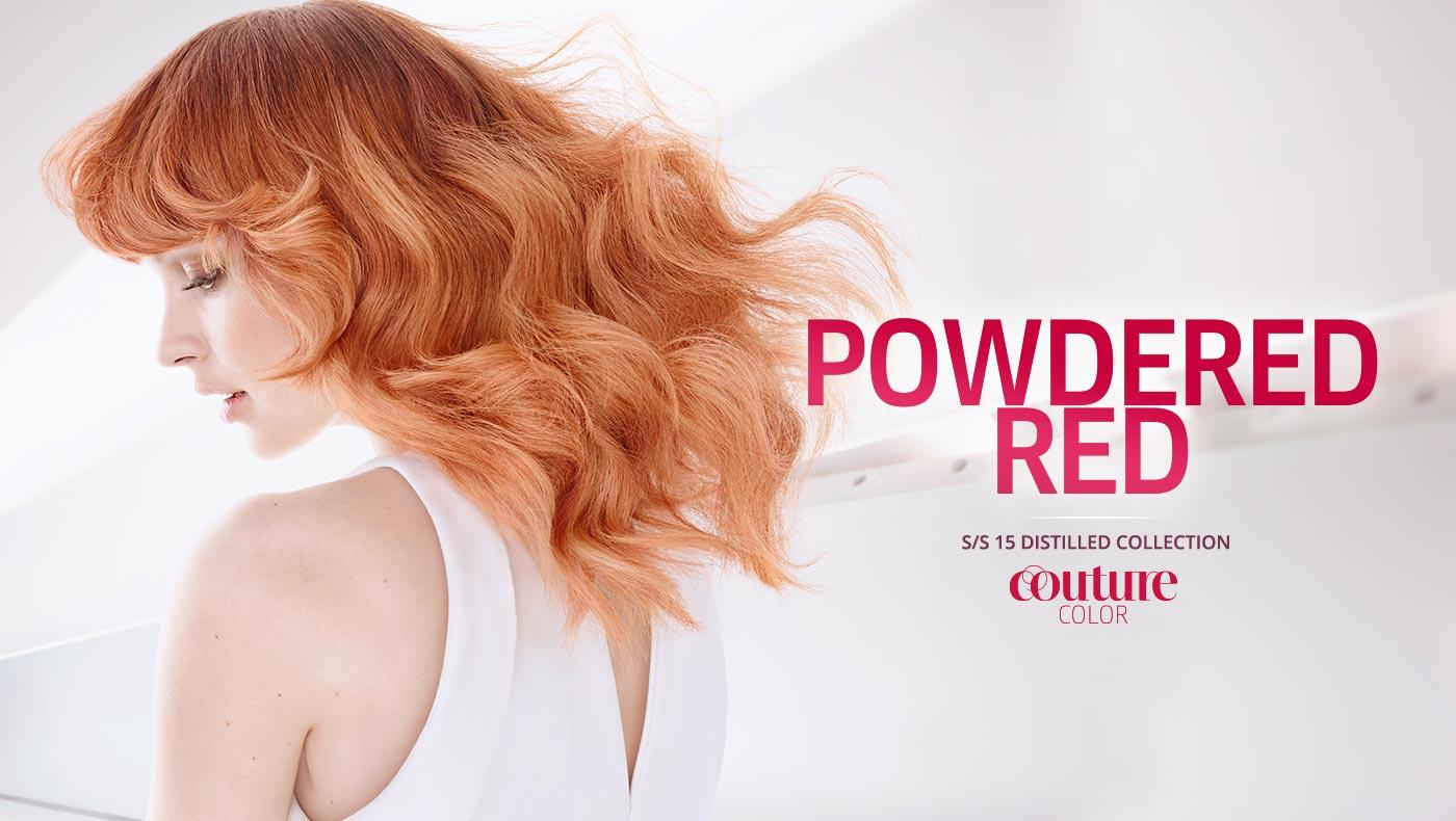 Wella účesy S/S 2015: pastelová měděná barva vlasů Powdered Red.