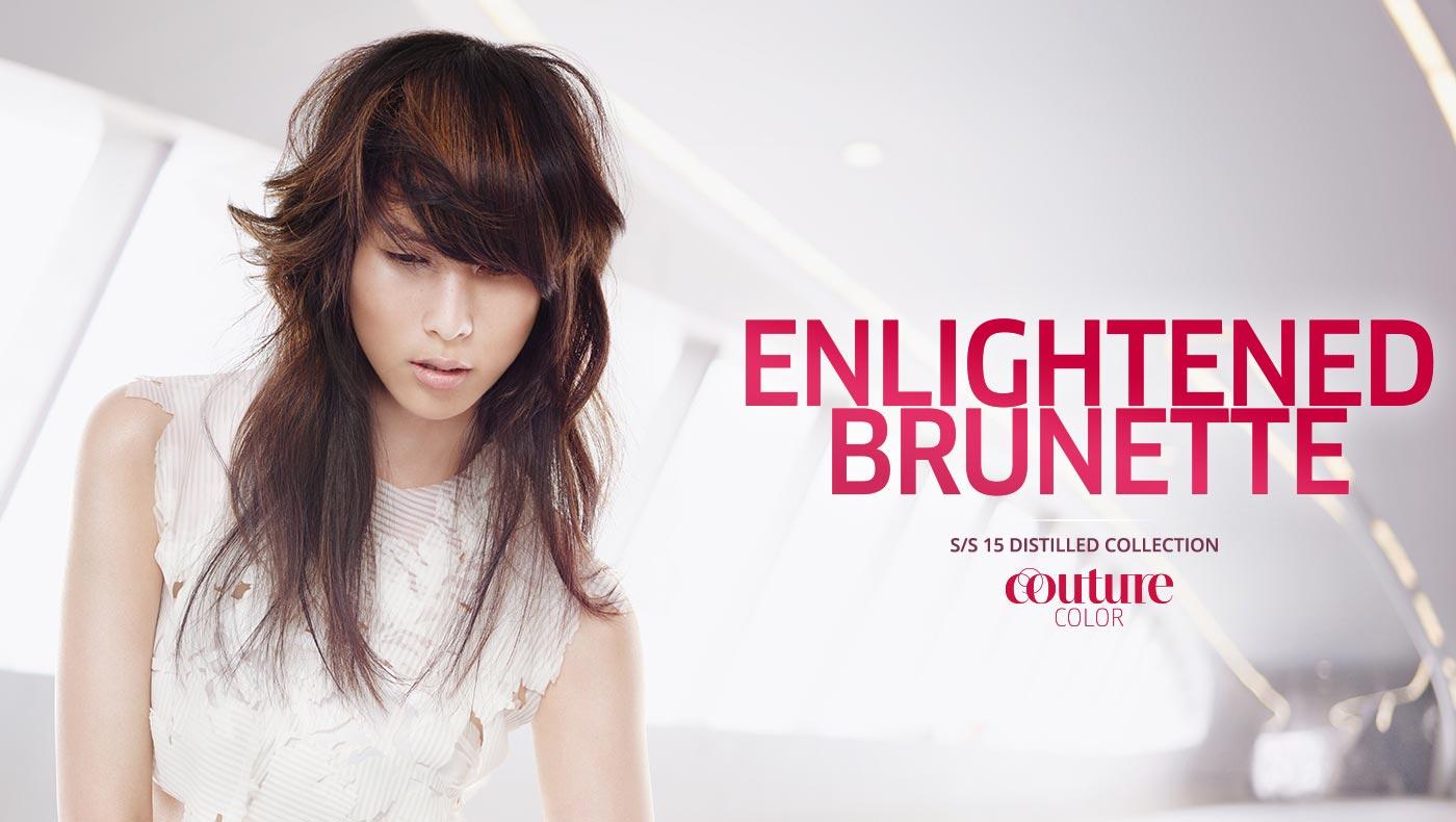Wella účesy S/S 2015: sestříhané dlouhé vlasy Enlightened brunette.