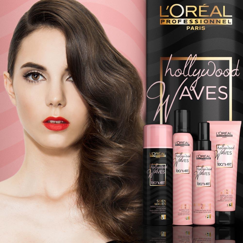 Jak na vlnité vlasy? L'Oréal Professionnel přináší řadu stylingových produktů Hollywood Waves Tecni.ART, se kterými vykouzlíte krásné glamour vlny během pár minut. Tato ucelená řada nabízí čtyři produkty různých textur, které jsou určené pro různé typy vlasů a druhy vln.