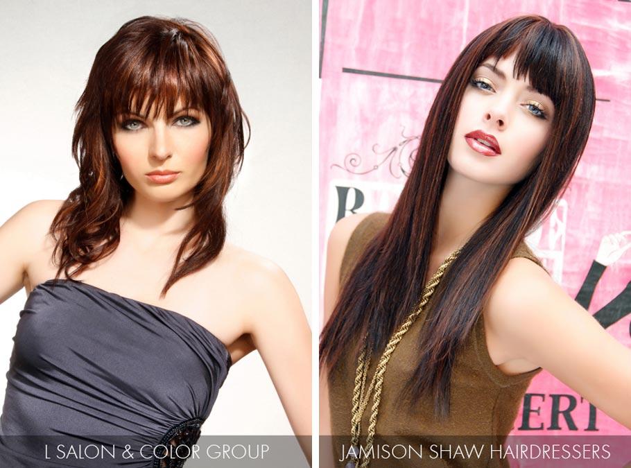 Účesy pro dlouhé vlasy jaro/léto 2015 – hnědočervený odstín účesů je top odstínem pro brunetky.