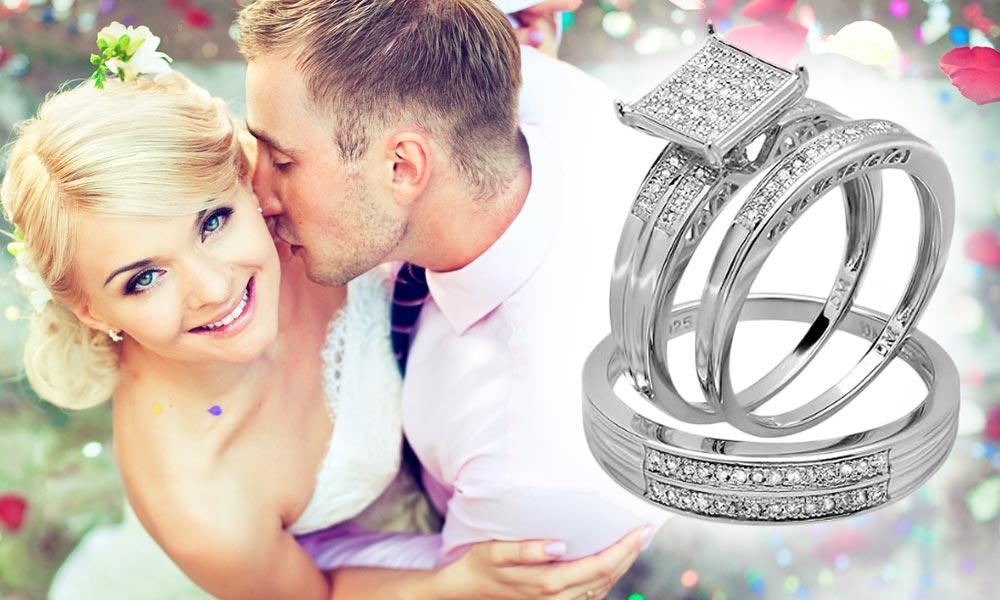 Diamantový zásnubní set ve stříbře. Třídílná kombinace dámský zásnubní prsten, pánský snubní prsten, dámský snubní prsten. Cena: 7400 Kč. (Dodává: Klenotnictví Klenota)