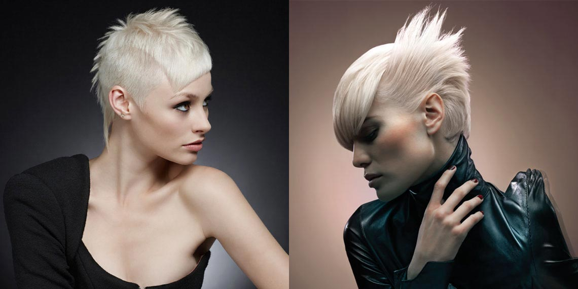 Krátké vlasy na platina blond účesu potřebují šmrncovní sestřih. (Účes: Rush)