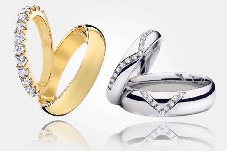 Vlevo: Zlaté snubní prsteny – dámský prsten je ozdoben diamanty. Cena: 69 000 Kč. Vpravo: Snubní prstýnky pro ženicha a nevěstu vyrobené z bílého zlata a briliantů. Cena: 59 000 Kč. (Dodává: Klenotnictví Klenota)