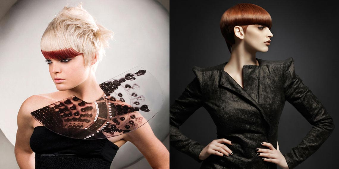 Vlevo: Méně je někdy více – u použití barvy roku 2015 Marsala to platí rovněž. (Účes: Rush) Vpravo: Marsala je pro krátké účesy naprosto geniální barva! (Účesy: Rush)