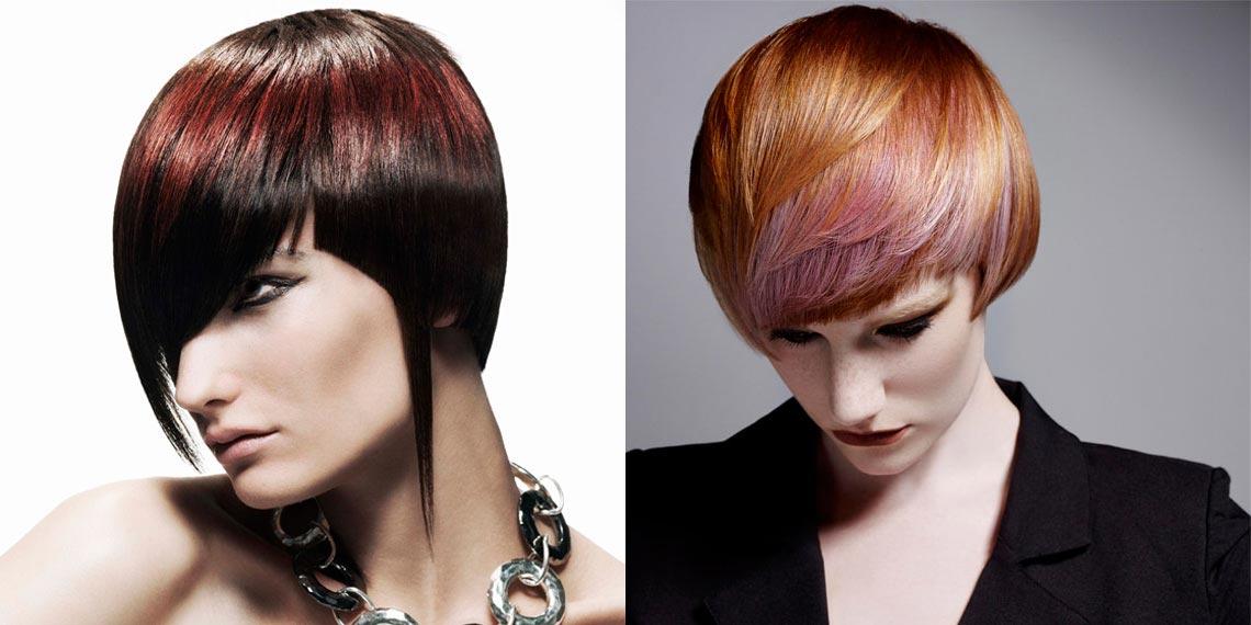 Vlevo: Black&Marsala je pro účesy vždy dobrá volba. (Účesy: Rush) Vpravo: Pořád vás barva roku 2015 Marsala nedostala? A co na tomto účesu? (Účesy: Rush)
