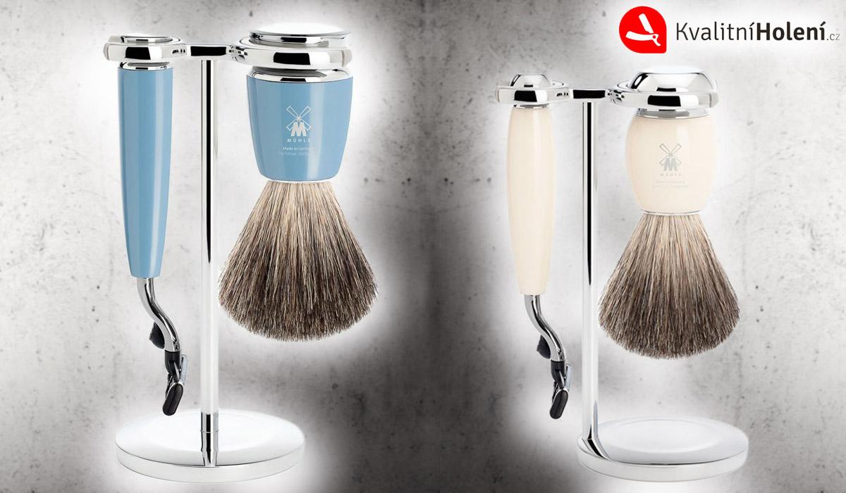 Jednoduché sady na klasické mokré holení obsahují štětku na holení a holící strojek. Vše se dodává s praktickým stojánkem.