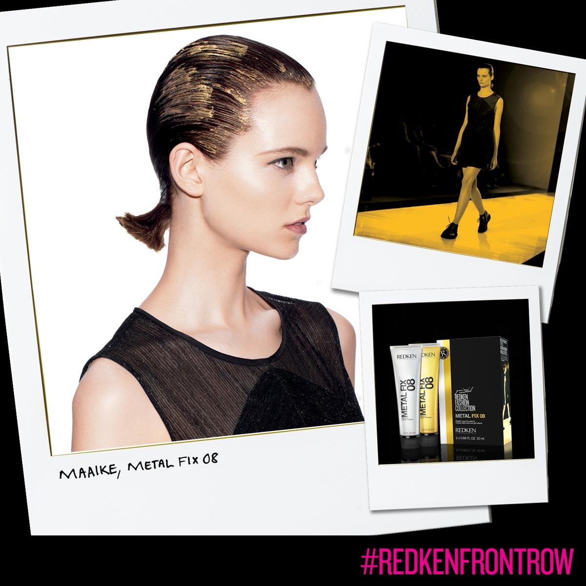 Uhlazené zlaté vlasy vytvoříte pomocí Redken Metal Fix 08 – zlato.