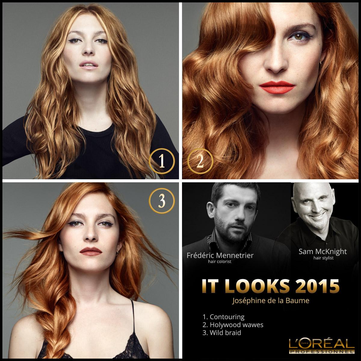 Nové účesy L'Oréal IT Looks 2015 pro letošní podzim a zimu v podání francouzské herečky a modelky Joséphine de la Baume