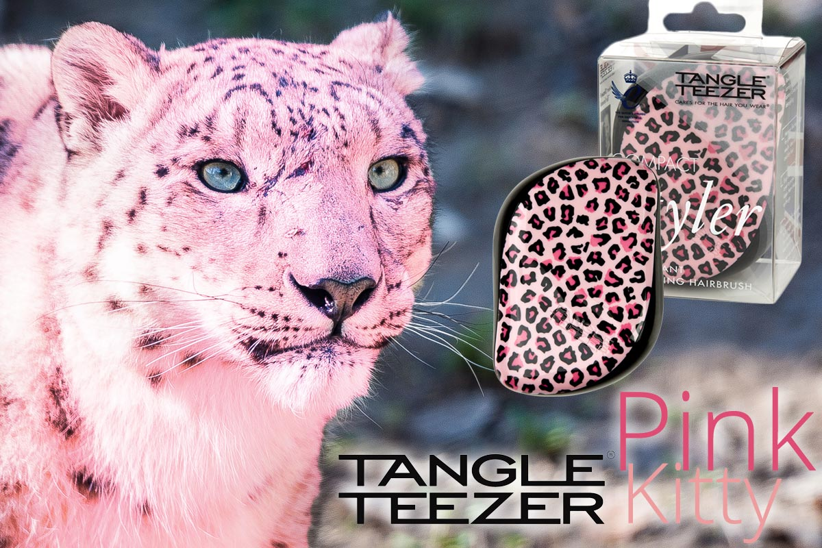 Nový kompaktní kartáč Tangle Teezer Pink Kitty se vzorem růžového leoparda je dalším z produktů britské značky světově úspěšných kartáčů na vlasy.