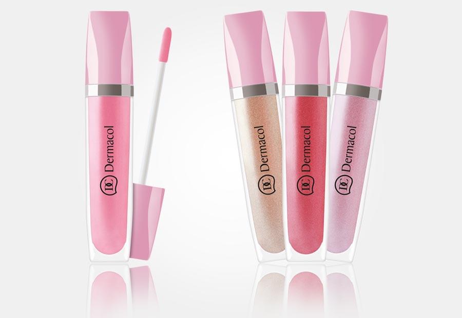 Lesky na rty Dermacol Shimmering Lip Gloss se hodí jako součást nahého make-upu. Koupíte je v e-shopu Nehtyprofi.cz.