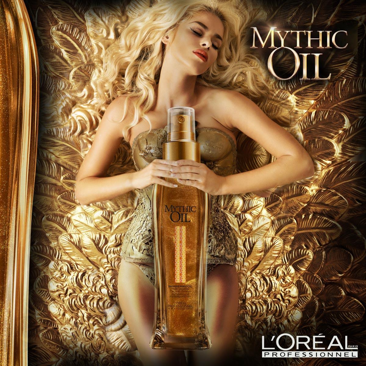 Vlasový olej Shimmering Oil patří do úspěšné vlasové kosmetiky Mythic Oil a vyniká svými zlatými odlesky. Používá se nejen na vlasy, ale na pokožku celého těla.