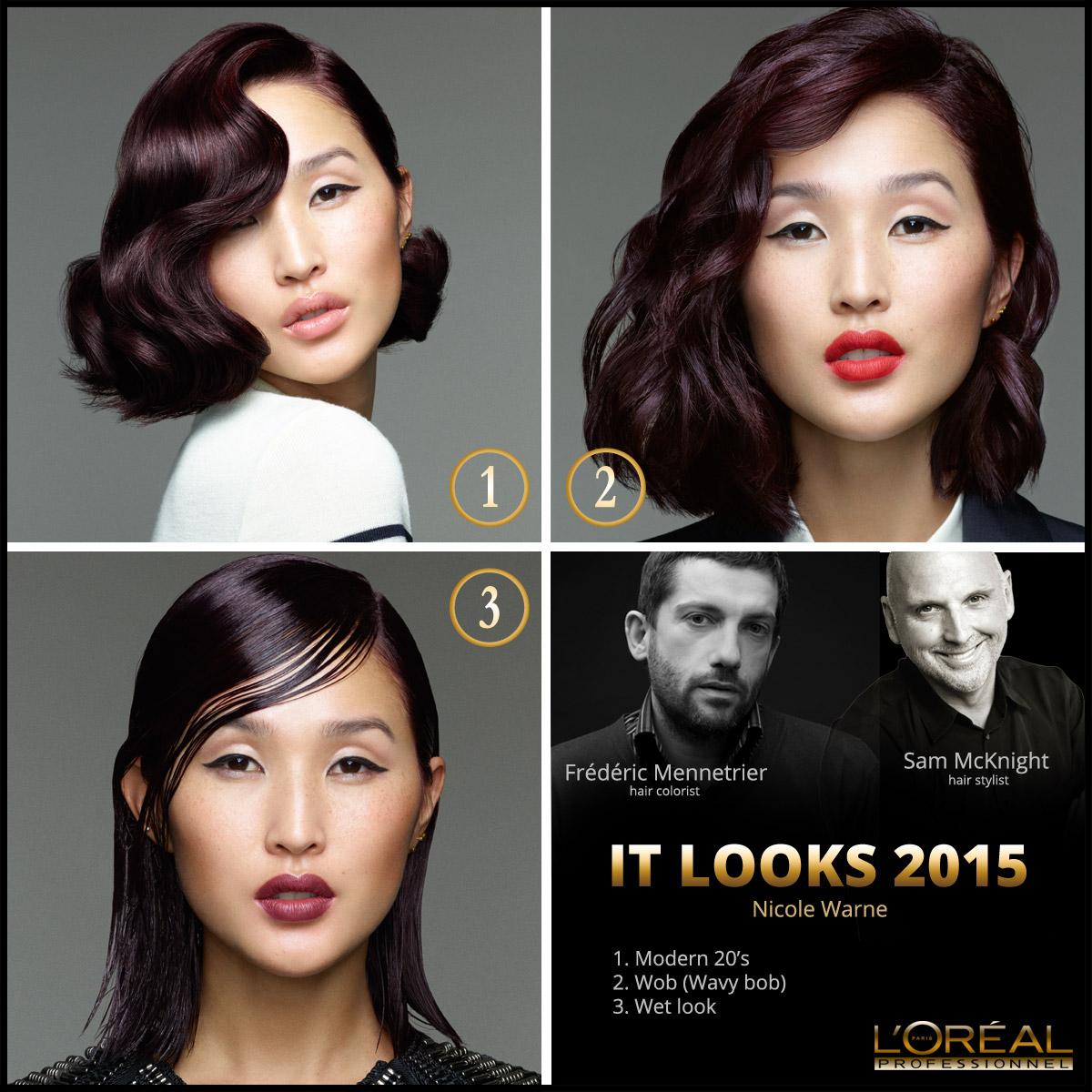 Nové účesy L'Oréal IT Looks 2015 pro letošní podzim a zimu v podání australské blogerky Nicole Warne