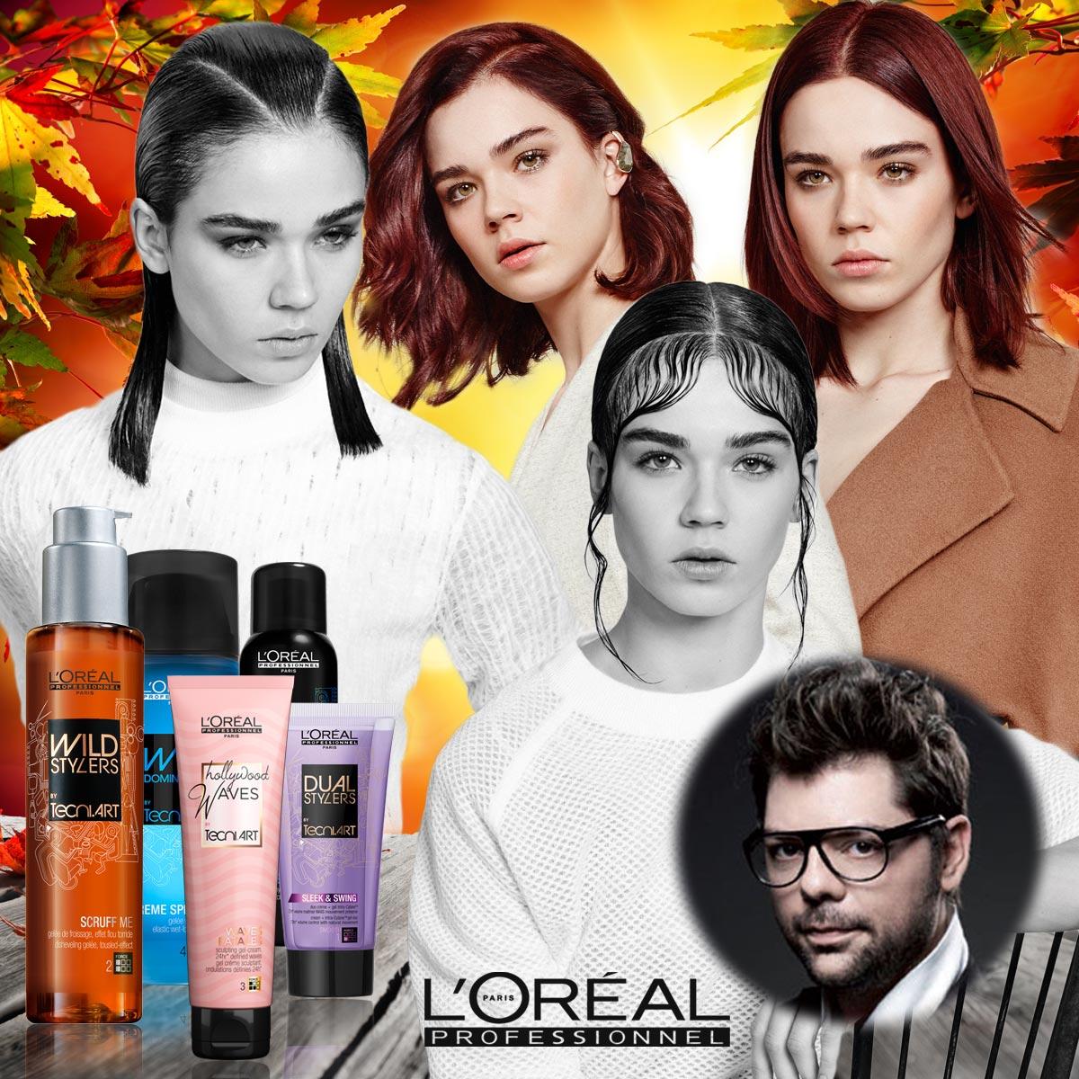 Výrazné pěšinky, vlnitý lob, krajkový efekt, baby hair, asymetrický look, hladké vlasy a mokrý vzhled – to jsou trendy pro podzimní účesy 2015 L'Oréal (IT Looks 2015), které vytvořil vytvořil hairstylista Luigi Neri.