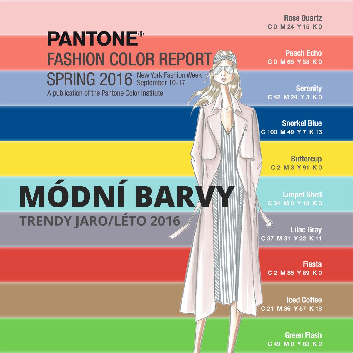 Barvy 2016 – módní barvy pro sezónu jaro a léto 2016. Trendy barvy pro oblečení, módní doplňky, nábytek, interiéry i pro kosmetiku a jako inspirace pro kadeřníky.