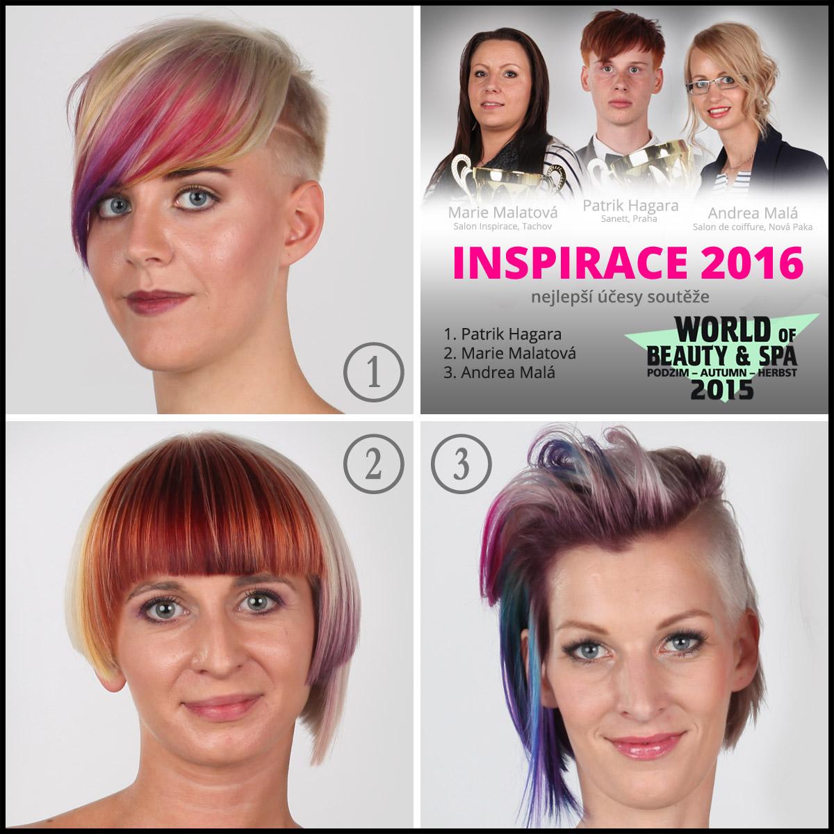Účesy ze 6. ročníku kadeřnické soutěže World of Beauty & Spa – Inspirace 2016.