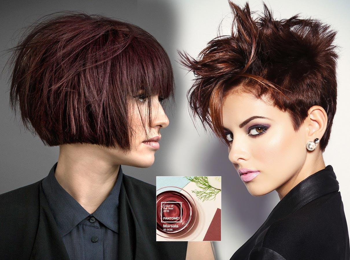 Trendy barvy pro krátké vlasy podzim/zima 2015/2016: hnědočervená barva roku 2015 Marsala nechybí ani na podzim!