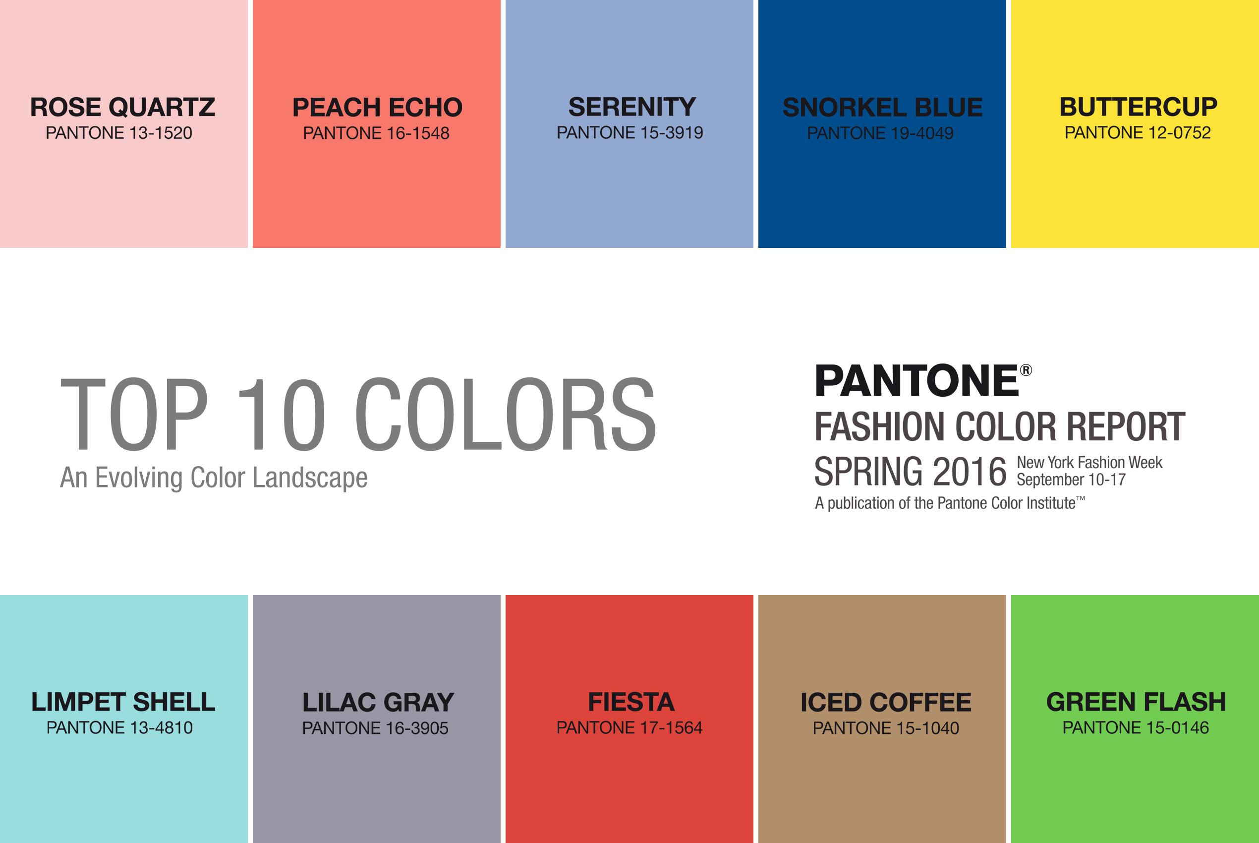 Top 10 trendy barev pro jaro a léto 2016 podle Pantone.