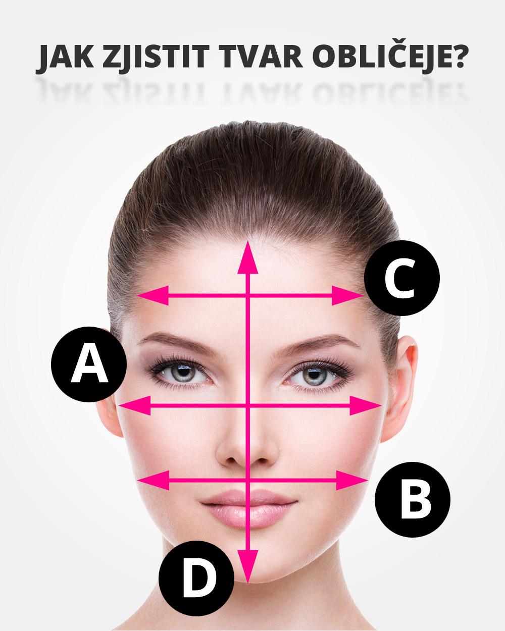 Jak zjistit tvar obličeje? Změřte svůj obličej na čtyřech místech a zjistěte, jaký je váš tvar obličeje.