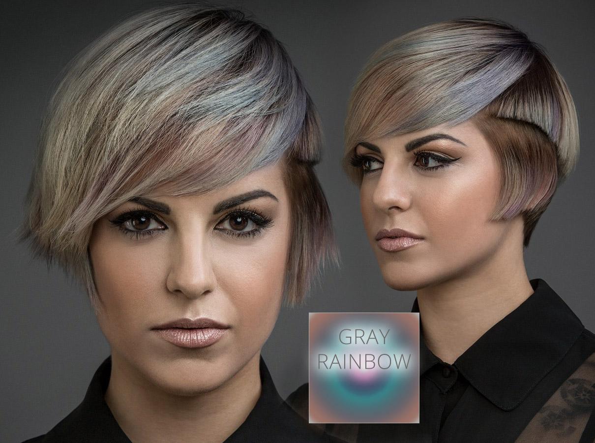 Trendy barvy pro krátké vlasy podzim/zima 2015/2016: vlasy v barvě šedé duhy vypadají skvěle!