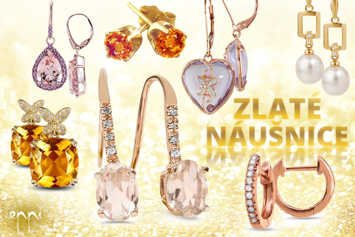 Zlaté náušnice z bílého, žlutého i růžového zlata v mnoha designech nabízí internetové klenotnictví Eppi.cz,