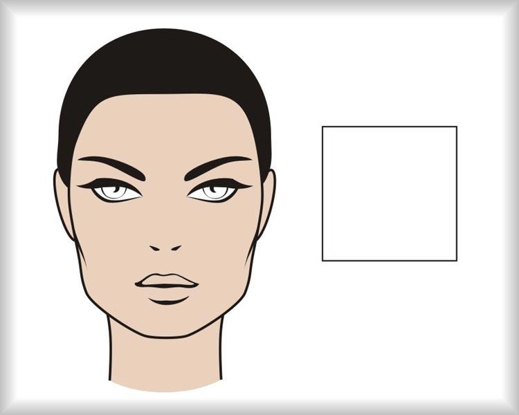 Čtvercový obličej: obličej hranatého čtvercového tvaru je symetrický v křížových osách a má výrazné hrany v oblasti čela i čelisti.