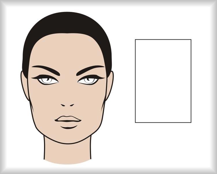 Obdélníkový obličej: obličej hranatého protáhlého tvaru je symetrický ve svislé ose