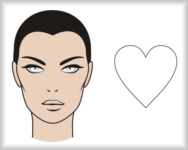 Srdcovitý obličej: obličej vypadá jako obrácený trojúhelník a od čela k bradě se zužuje pod výrazným úhlem. Kouty na čele mohou být výraznější s vlasy rostoucími výš než uprostřed čela.