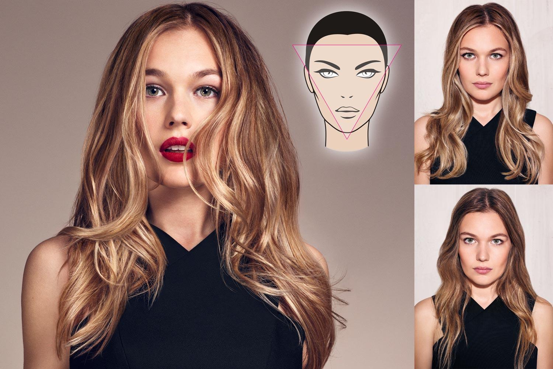 Contouring vlasů pro trojúhelníkový obličej