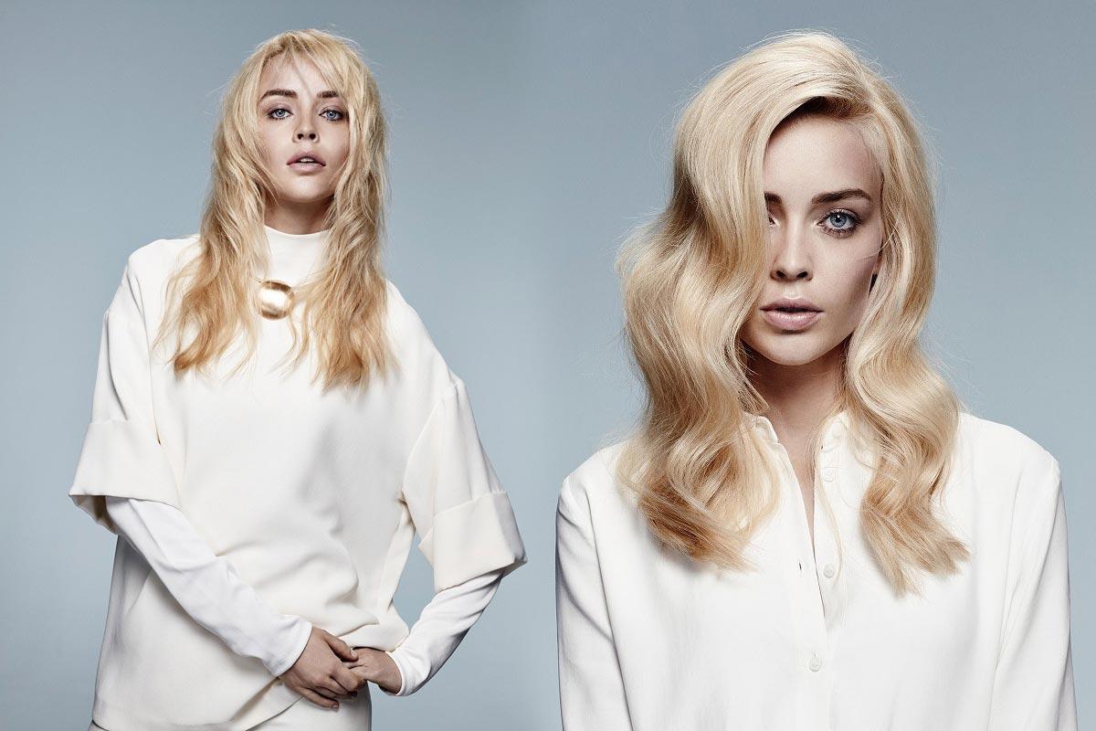 Dlouhé blond vlasy 2016 nehýří barvami, ale sází na příjemnou ajuvédskou barvu Ghí. (Účesy jsou z kolekce Jean Marc Maniatis.)
