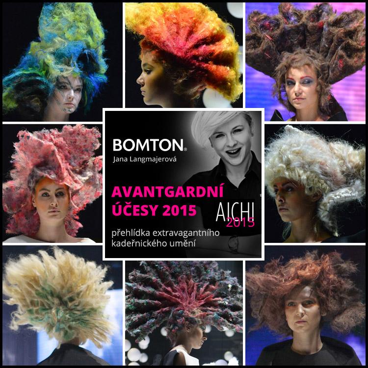 Avantgardní účesy Bomton 2015 – přehlídka na slavnostním galavečeru AICHI 2015.