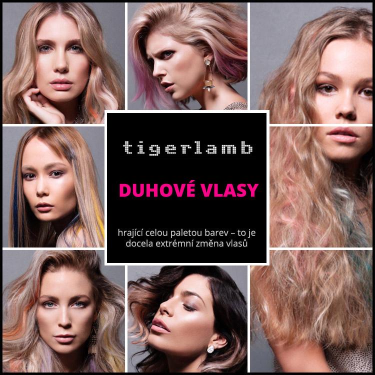 Vlasy, barvy a inspirace duhou – to jsou duhové vlasy v účesech Tigerlamb.