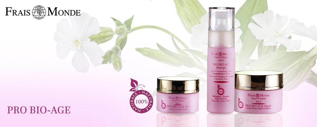 Přírodní kosmetika Frais Monde nabízí také svoji BIO řadu která obsahuje pouze přírodní složky, není testována na zvířatech a nepoužívá nikl, GMO složky parabeny ani syntetické konzervanty.