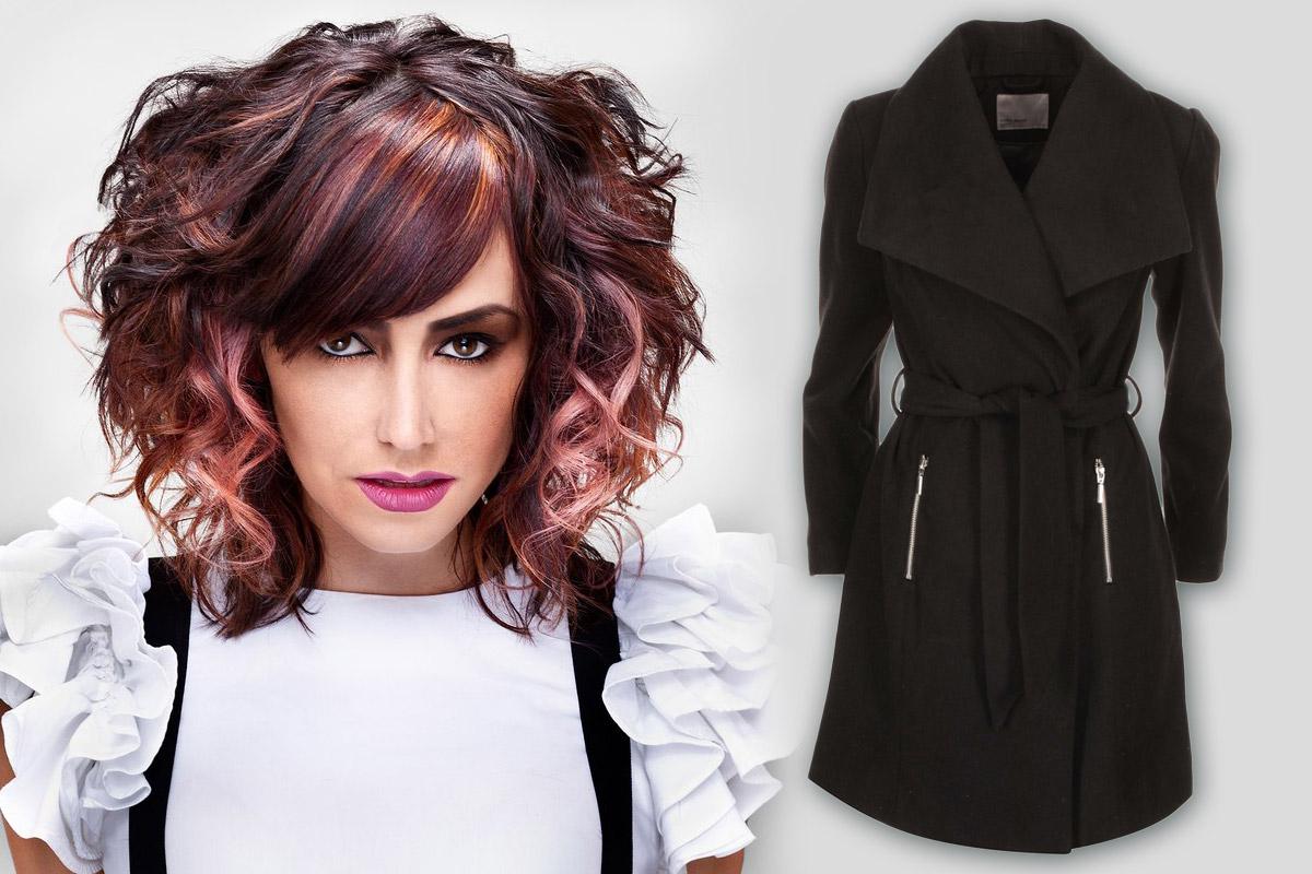 Dámský kabát Zoot. Účes: Audrey Adrine Petrosyan, Canadian Hairstyling Awards Contessas.