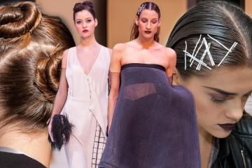 Jak na mokrý vzhled, čili wet efekt vlasů se sponkami i se zaplétanými drdoly? Inspirujte se návody na účesy 2015 a 2016 z módní přehlídky Borisa Hanečky.