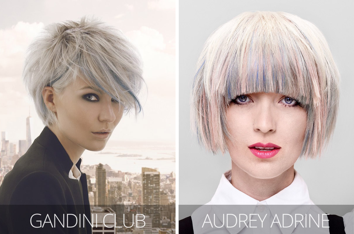 Účesy 2017 – Zleva: Gandini Club, New York Seduction Colección (vlasy: Gandini Club, foto: Paulo Renftle, styling: Giusseppe Dicecca, make-up: Alemka Krupic.) Vpravo: Audrey Adrine, Canadian Hairstyling Awards Contessas 2012 Petrosyan.