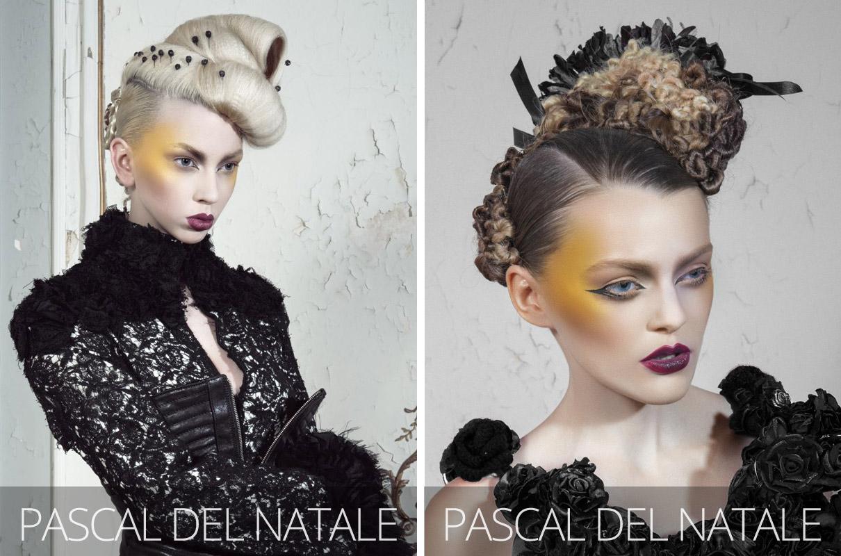 Účesy 2017 – Zleva: Pascal del Natale, La mariée était en noir&blanc (kadeřník: Pascal Del Natale, asistence: Justine Maurcot, foto: Jimmy Bollaerts, make-up: Caroline Quirynen, styling: Bart Hoste.)
