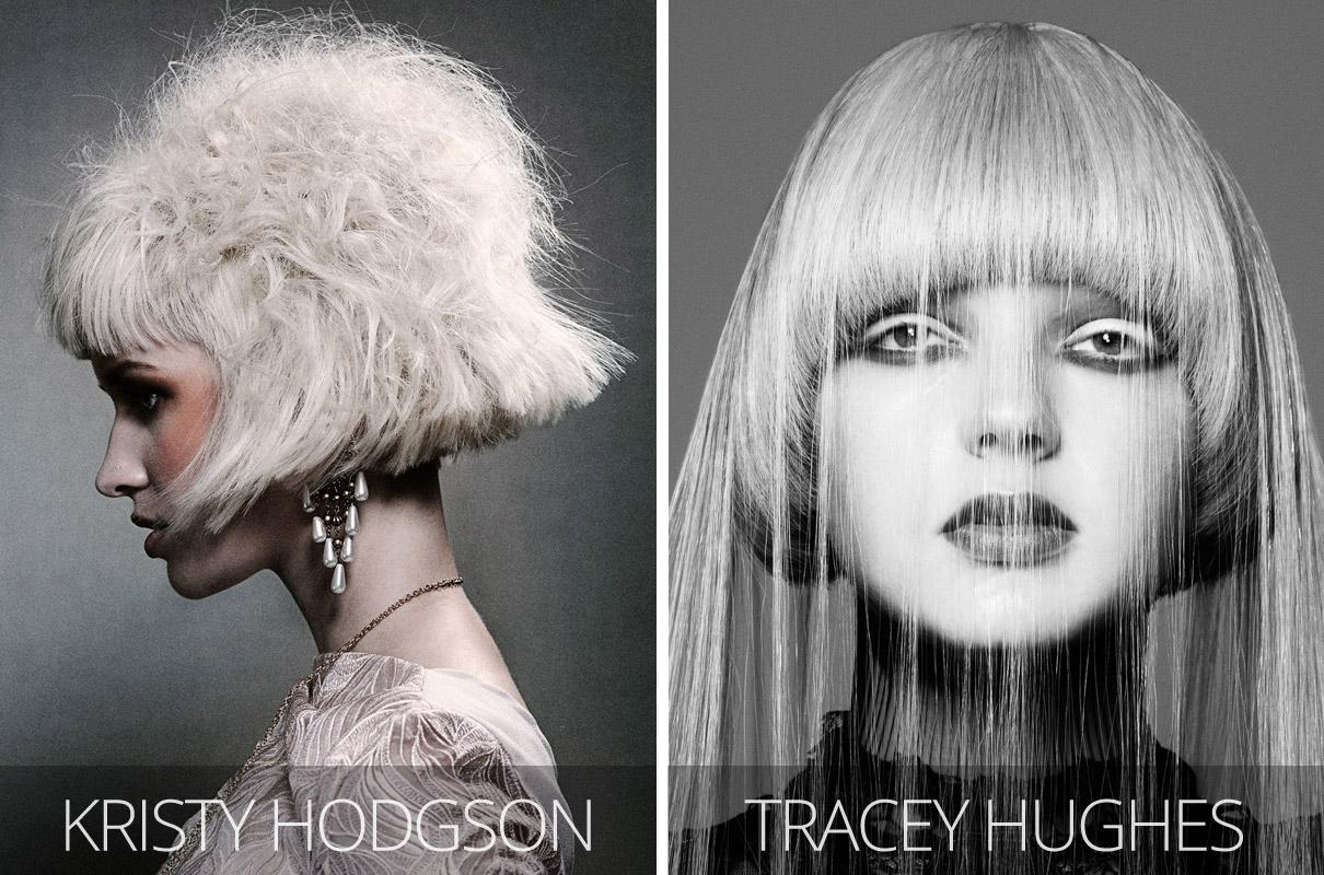 Účesy 2017 – Zleva: Jarahs Hair, Enamour Collection (vlasy: Kristy Hodgson, Jarahs Hair, Berri; foto: Carl Keeley; make-up: Meggie Maper, stylistka: Milana Scerbakova.) Vpravo: Tracey Hughes, Mieka Hairdressing, Hair Expo Australia 2012.