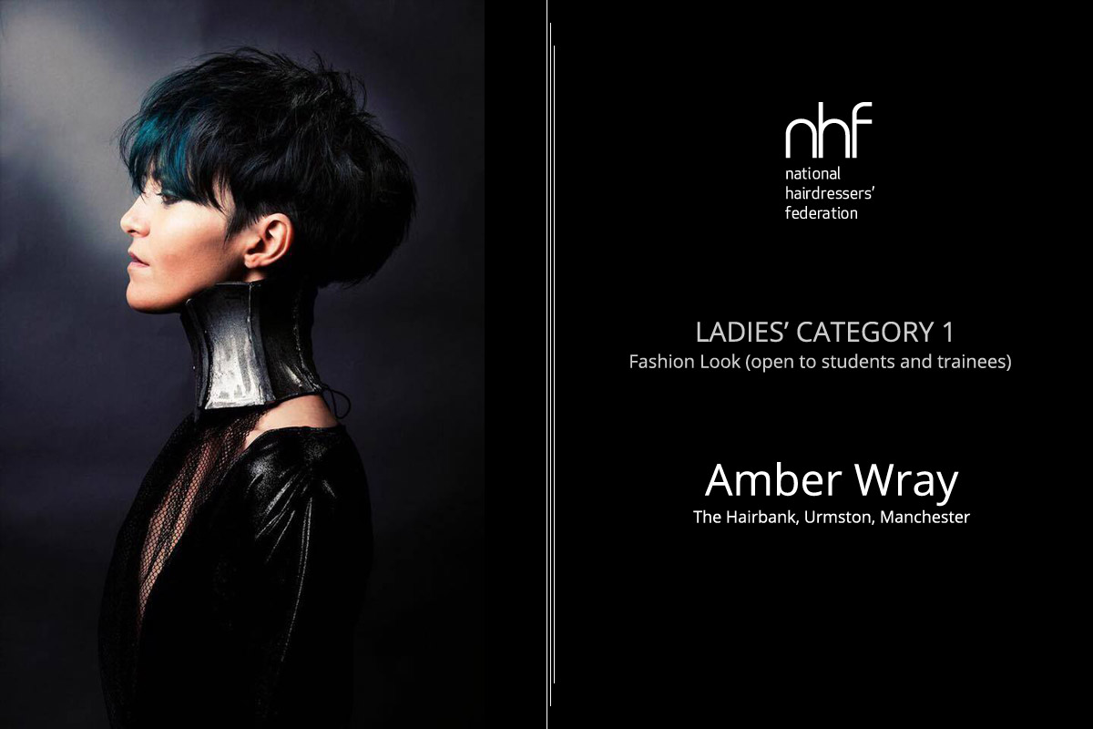 Fotostylista Británie 2015 (Photographic Stylist – NHF) – vítěz Amber Wray – The Hairbank, Urmston (Ladies' Category 1 – Fashion Look, students and trainees).