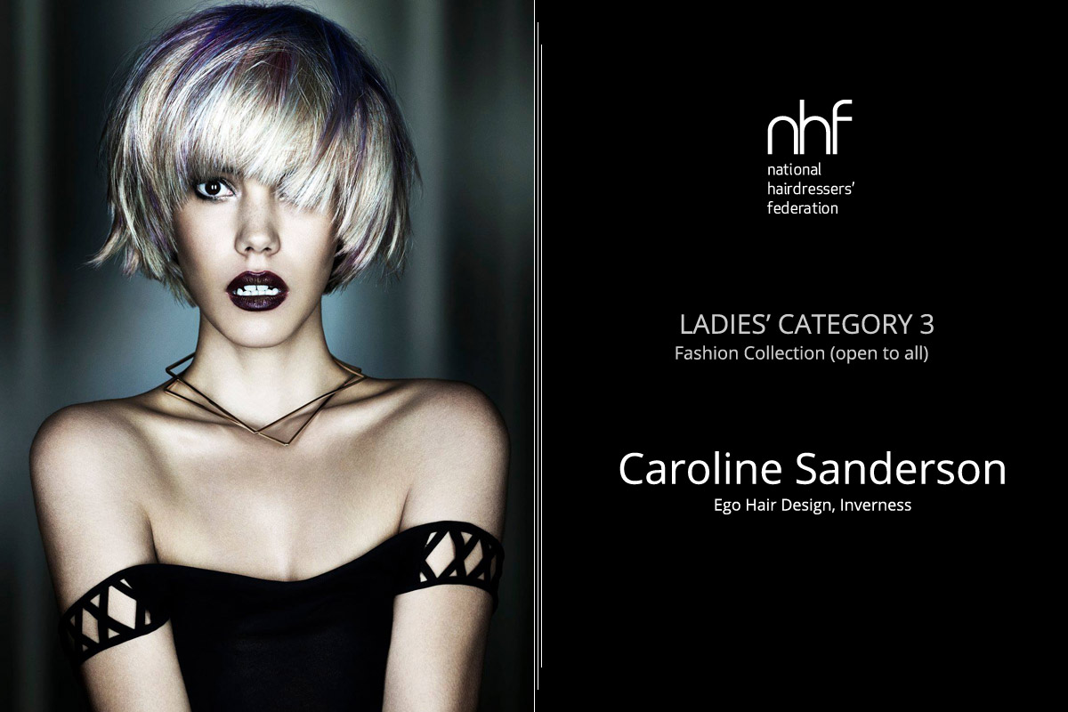 Fotostylista Británie 2015 (Photographic Stylist – NHF) – vítěz Caroline Sanderson – Ego Hair Design, Inverness, (Ladies Category 3 – Fashion Collection).